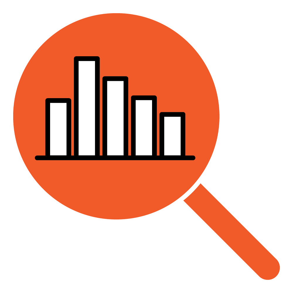 icon - magnifying glass over graphs