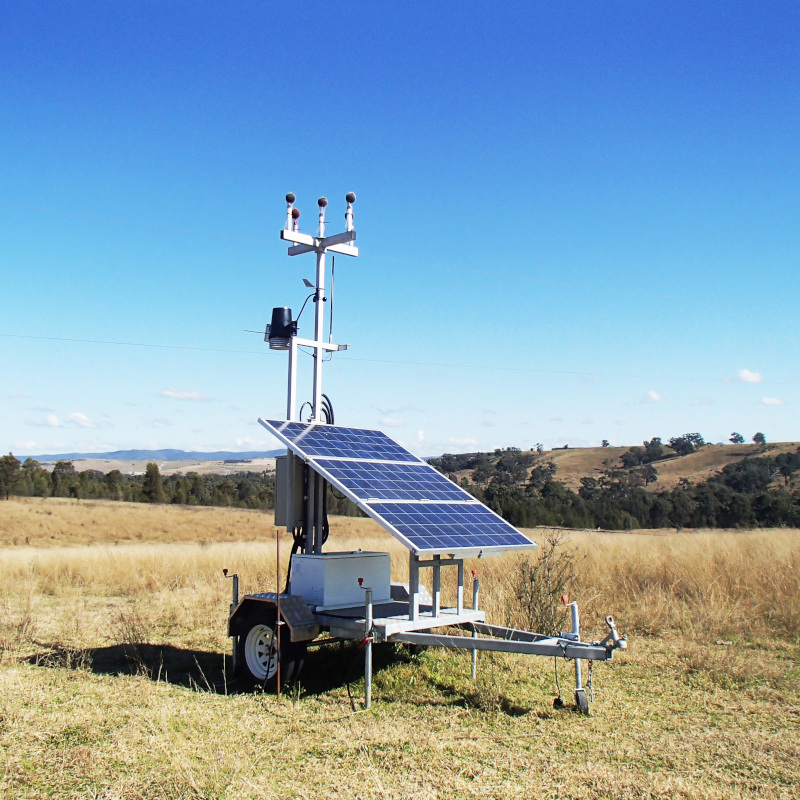 monitoring harware and solar panels on a trailer